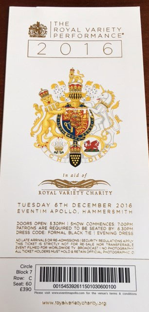 Invitation Royal Variety Show 2016 - Grace Kennedy Events