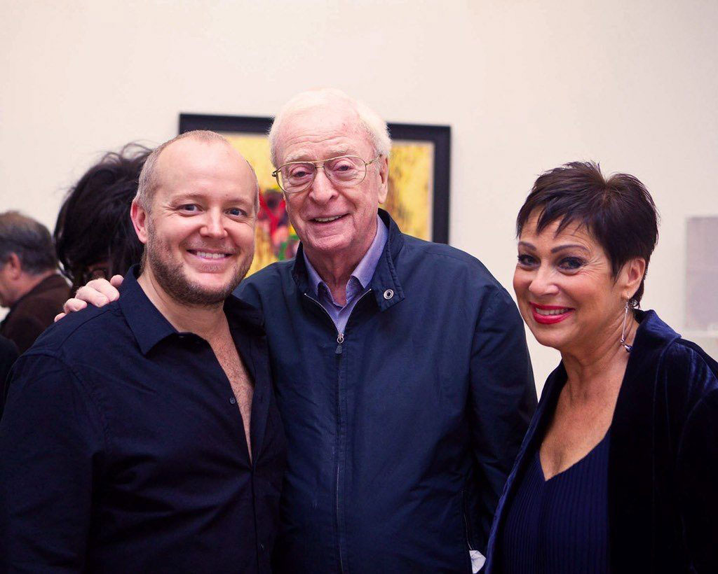 Sir Michael Caine with Lincoln Townley and wife Denise Welch